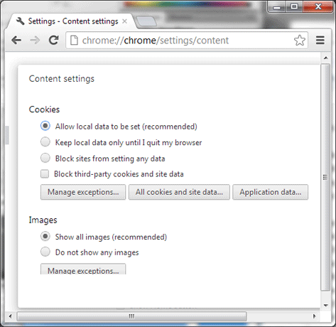 Google Chrome Content settings, Cookies