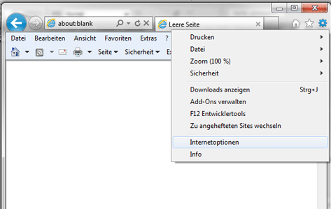 Internet Explorer Extras, Einstellungen